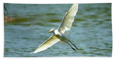 Cattle Egret Right Banking Turn - Digitalart Beach Sheet