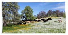 Cattle N Flowers Beach Towel