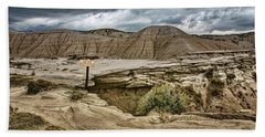 Caution - Steep Cliffs - Toadstool Geologic Park Beach Towel
