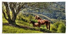 Cavalla Plains Horses - Cavalli Al Pian Della Cavalla Beach Towel