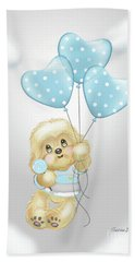 Beach Towel featuring the painting Cavapoo Toby Baby by Catia Lee