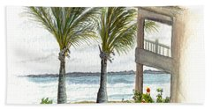 Beach Towel featuring the digital art Cayman Hotel by Darren Cannell