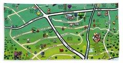 Cedar Park Texas Cartoon Map Beach Towel