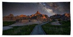 Beach Towel featuring the photograph Cedar Pass Milky Way by Darren White