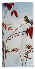 Cedar Waxwing Beach Towel by Laura Tasheiko