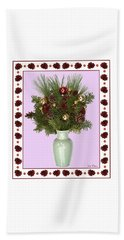 Beach Towel featuring the digital art Celadon Vase With Christmas Bouquet by Lise Winne