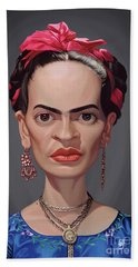 Beach Towel featuring the digital art Celebrity Sunday - Frida Kahlo by Rob Snow