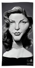 Beach Towel featuring the digital art Celebrity Sunday - Lauren Bacall by Rob Snow