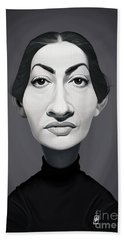 Beach Towel featuring the digital art Celebrity Sunday - Maria Callas by Rob Snow