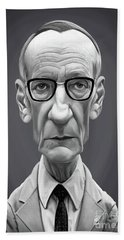 Beach Towel featuring the digital art Celebrity Sunday - William Burroughs by Rob Snow