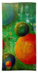Beach Towel featuring the painting Celestal Planets by Tamyra Crossley