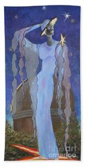 Celestial Bodies -- Fashion Collage Portrait W/ Fabric And Crystals Beach Towel