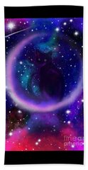 Beach Towel featuring the painting Celestial Crescent Moon Cat  by Nick Gustafson