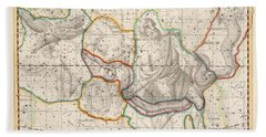 Celestial Map - Map Of The Constellations - Ophiuchus, Taurus, Serpens - Astronomical Chart Beach Towel