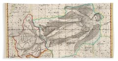 Celestial Map - Map Of The Constellations - Virgo, Libra, Turdus Solitarius - Astronomical Chart Beach Towel