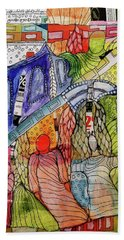 Beach Towel featuring the mixed media Celestial Windows by Mimulux patricia No