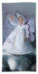 Beach Towel featuring the painting Celestine Snow Fairy by Nancy Lee Moran