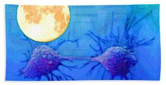 Cell Division Under Full Moon Beach Towel by Mojo Mendiola
