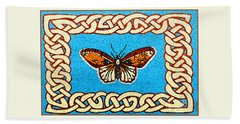 Beach Towel featuring the painting Celtic Butterfly by Lise Winne
