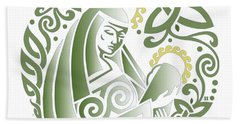 Celtic Green Madonna Beach Towel