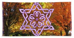 Celtic Hexagram Rose In Lavandar Beach Towel