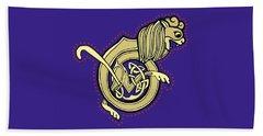 Celtic Lion Letter B Beach Towel