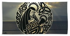 Celtic Madonna Over Sunset Beach Towel