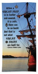 Celtic Tall Ship - El Galeon In Halifax Harbour At Sunrise Beach Towel
