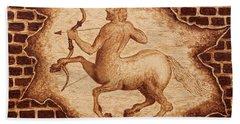 Centaur Hunting Original Coffee Painting Beach Sheet by Georgeta Blanaru