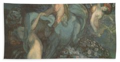 Centaur Nymphs And Cupid Beach Towel by Franz von Bayros