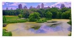 Central Park And Lake, Manhattan Ny Beach Sheet