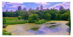 Central Park And Lake, Manhattan Ny Beach Towel