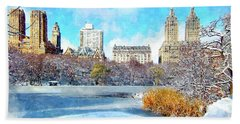 Beach Towel featuring the digital art Central Park In Winter by Kai Saarto