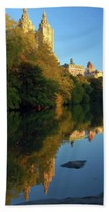 Beach Towel featuring the photograph Central Park Refelctions by James Kirkikis
