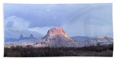 Cerro Castellan And Mule Ears  Beach Sheet by Dennis Ciscel