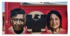 Cesar Chavez And Dolores Huerta Mural - Utah Beach Sheet by Gary Whitton