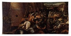 Cesari Giuseppe St Clare With The Scene Of The Siege Of Assisi Beach Towel