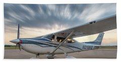 Cessna 182 On The Ramp Beach Sheet