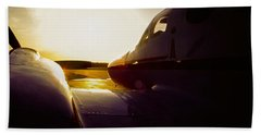 Cessna 421c Golden Eagle IIi Silhouette Beach Towel by Greg Reed