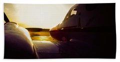 Cessna 421c Golden Eagle IIi Silhouette Beach Sheet by Greg Reed