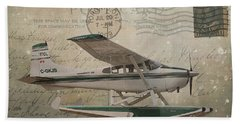 Cessna Skywagon 185 On Vintage Postcard Beach Towel