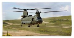 Ch47 Chinook In The Dust Bowl Beach Towel by Ken Brannen