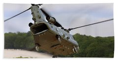 Ch47 Chinook On Manoeuvres Beach Towel by Ken Brannen