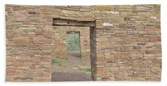 Beach Towel featuring the photograph Chaco Canyon Doors by Debby Pueschel