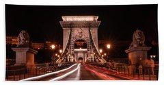 Beach Towel featuring the photograph Chain Bridge At Midnight by Jaroslaw Blaminsky