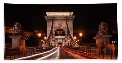 Beach Sheet featuring the photograph Chain Bridge At Midnight by Jaroslaw Blaminsky