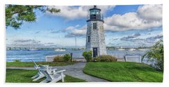 Chairs At Newport Harbor Lighthouse Beach Towel