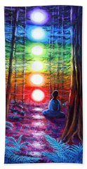 Chakra Meditation In The Redwoods Beach Sheet