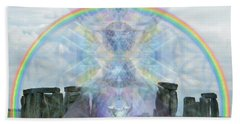 Chalice Over Stonehenge In Flower Of Life Beach Towel