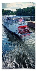 Beach Towel featuring the photograph Champlain Canal Patriot by Kendall McKernon
